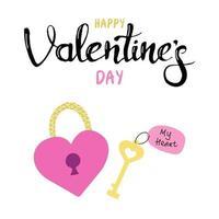 Schloss in Form eines Herzens mit einem Schlüssel. Geschenkgrußkarte zum Valentinstag. Kalligraphie und handgezeichnete Gestaltungselemente. Handschrift. flaches Vektorbild vektor