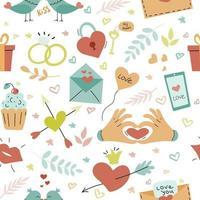 Valentinstag, verschiedene Elemente auf weißem Hintergrund, Tapete. Vektor nahtloses Muster