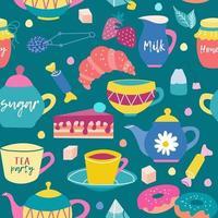 Teeparty, Frühstück, Süßigkeiten und Geschirr. Vektor nahtloses Muster