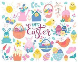 Ein großes handgezeichnetes Osterfest in einem flachen Stil. Eier, Hühner, Kaninchen, Weiden, Körbe, Blumen und Kuchen. Vektor-Illustration ist perfekt für Grußkarten, Poster, Dekoration vektor
