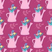 rosa Gießkanne mit Blumen, Pflanzen. Vektor nahtloses Muster im flachen Stil