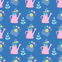 eine rosa Gießkanne und ein Umschlag mit Blumen und Pflanzen. Vektor nahtloses Muster in einem flachen Stil auf einem blauen Hintergrund