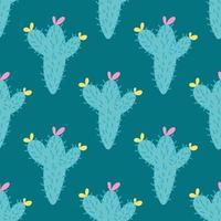 ein Kaktus mit einer rosa und gelben Blume auf einem grünen Hintergrund. Vektor nahtloses Muster im flachen Stil