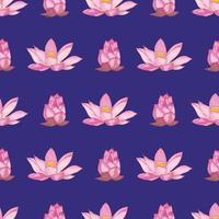 Die Lotusblumen wurden mit einem Pinsel auf einem dunkelvioletten Hintergrund gemalt. Vektor nahtloses Muster