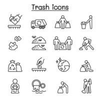 papperskorgen, skräp, skräp, dumpa, avfall Ikonuppsättning i tunn linje stil vektor