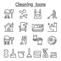 Reinigungshaus und Hygienesymbol im dünnen Linienstil eingestellt vektor