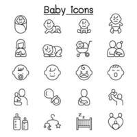 Baby, Säuglingsikone im dünnen Linienstil eingestellt vektor