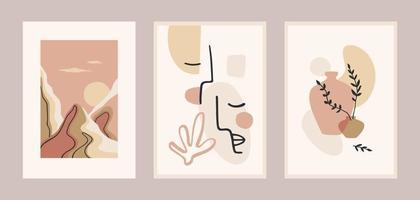 Satz zeitgenössischer Kunstdrucke. Strichzeichnungen. modernes Vektordesign für Plakate, Karten, Verpackungen und mehr