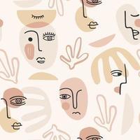 samtida porträtt. vektor sömlösa mönster med trandy abstrakt ansiktsmålning. modern design