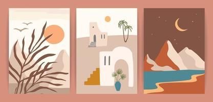 Sammlung zeitgenössischer Kunstdrucke mit südländischer Landschaft. Mittelmeer, Nordafrika. modernes Vektordesign