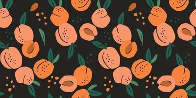 Vektor nahtloses Muster mit Pfirsichen. trendige handgezeichnete Texturen. modernes abstraktes Design