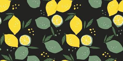 vektor sömlösa mönster med citroner och limefrukter. trendiga handritade texturer. modern abstrakt design