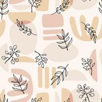 nahtloses Muster der zeitgenössischen Kunst mit Pflanzenzweigen. Strichzeichnungen. modernes Design vektor