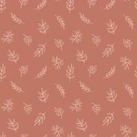 nahtloses Muster der zeitgenössischen Kunst mit Zweigen, Blättern, Pflanzen. Strichzeichnungen. modernes Design
