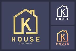Kombination aus Buchstabe k Logo und Haussymbol. Gehäuse- und Shop-Logo-Konzept