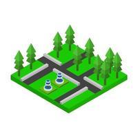 isometrisches Park-Symbol auf Hintergrund