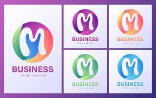 bokstaven m logotyp set