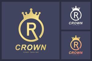 kombinationen av bokstaven r-logotypen och kronans symbol. konceptet med en kunglig eller linjallogotyp vektor