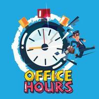 Geschäftsmann rennt von der Stoppuhr. Bürozeiten-Konzept. - Vektorillustration