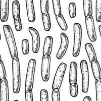 bakteriemönster i realistisk skissstile. handritad medicinsk bakgrund. vektor illustration