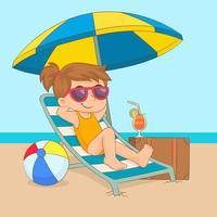 Mädchen, das auf dem Sonnenstuhl unter Sonnenschirm entspannt vektor