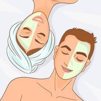 lyckliga par som njuter av ansiktsbehandling vektor