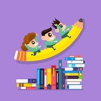 Illustrationskonzeptausbildung mit Kindern, die Bleistift und Bücher reiten