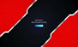 mörk svart hexagon bakgrund med röd och silver lista dekoration. vektor