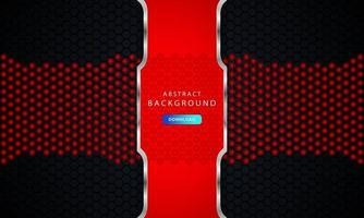 mörk svart hexagon bakgrund med röd och silver lista dekoration vektor