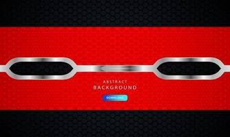 roter sechseckiger abstrakter Metallhintergrund mit silbernem Umrisseffekt. vektor