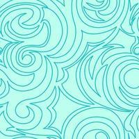 sömlös turkos konsistens av spiraler och lockar i linjär stil.