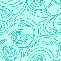 nahtlose türkisfarbene Textur von Spiralen und Locken in einem linearen Stil.