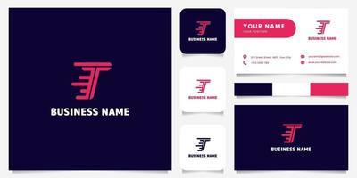 einfaches und minimalistisches hellrosa Buchstaben-T-Geschwindigkeitslogo im dunklen Hintergrundlogo mit Visitenkartenschablone