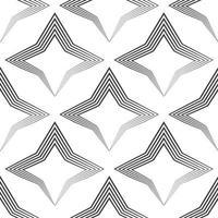 nahtloses Vektormuster von unebenen schwarzen Linien, die von einem Stift in Form von Sternen oder Rauten gezeichnet werden.