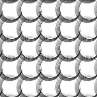 Vektor nahtloses lineares Muster von unebenen Linien in Form von sich kreuzenden Kreisen.
