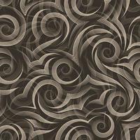 nahtloses Vektormuster von glatten Linien, die durch beige Stift in Form von Spiralen und Locken gezeichnet werden, die auf dunklem Hintergrund isoliert werden.