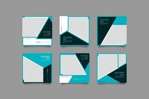 blaues Geschäft geometrisches instagram Postvorlagenbündel vektor