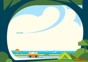 banner mall med väg nära havet.