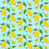 nahtloses Muster mit Zitronen auf Zweig. vektor