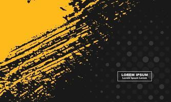 abstrakter Hintergrund schwarzer und gelber Schmutz und Halbtonkreis vektor