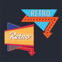 Malluppsättning med vintage skyltar med neonpil vektor