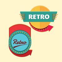 Coole Retro oder Vintage Zeichen Vorlagensatz vektor