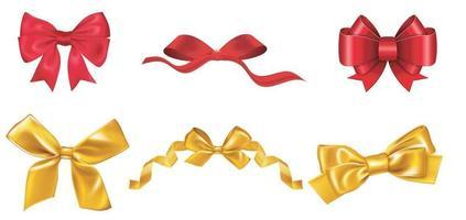 stor uppsättning röda och dolda presentbågar med band. vektor illustration