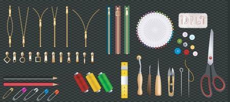 Metall- und Kunststoffreißverschlusssatz lokalisiert auf transparentem Hintergrund. Positionen schließen und öffnen. Vektorillustration. Kleidungszubehör. vektor