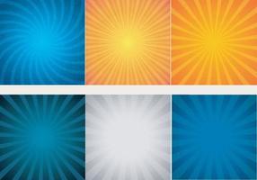sunburst bakgrundsuppsättning av tre färger, vektor