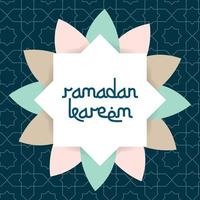 Ramadan Kareem Grußkarte mit islamischem Ornamentvektorrahmen vektor
