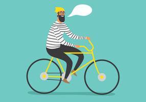 Hipster Mann auf Fahrrad vektor