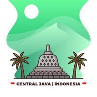 Flat Borobudur Temple i Central Java Indonesisk Pride Med Gradient Bakgrund Vector Illustration