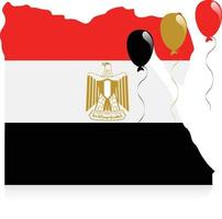 Egypten karta flagga vektor