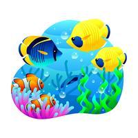 fisktecknad vektor